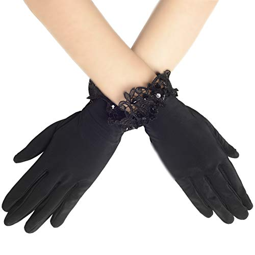 BABEYOND Floral Lace Gloves for Wedding Opera Party 1920s Flapper Lace Gloves Stretchy Adult Size (Black with Floral Lace -