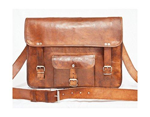 pranjals house only Pocket 13inch Genuine Leather Laptop Satchel Messenger Bag