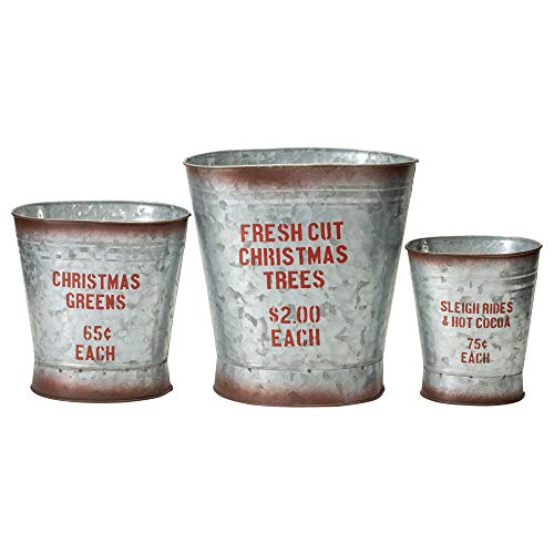 Your Heart's Delight Sleigh Christmas Trees Silver Toned 10 x 10 Metal Christmas Containers Set of -