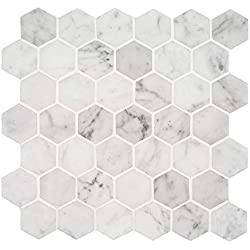 Italian Bianco Carrara White Marble 2 In. Hexagon Mosaic Tile Wall Floor Decorative Bathroom Kitchen Backsplash Tiles (3.88sf.,4Pack Per Case), Honed
