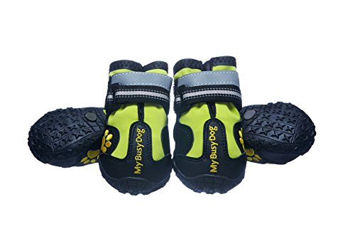 My Busy Dog Water Resistant Dog Shoes with Two Reflective Fastening Straps and Rugged Anti-Slip Sole | Dog Boots Perfect for Small Medium Large Dogs | Size Chart in Pictures (Size 2, Green)