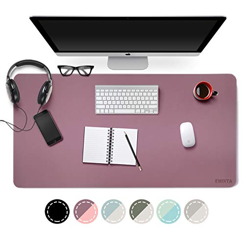 Dual Sided PU Leather Desk Pad, 2019 Upgrade Sewing Edge Office Desk Mat, Waterproof Desk Blotter Protector, Desk Writing Mat Mouse Pad (Purple/Pink, 31.5 x 15.7)