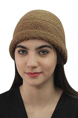 Womens 100% Alpaca Wool Handknit Beanie Ski Hat Winter Skullcap (Camel)