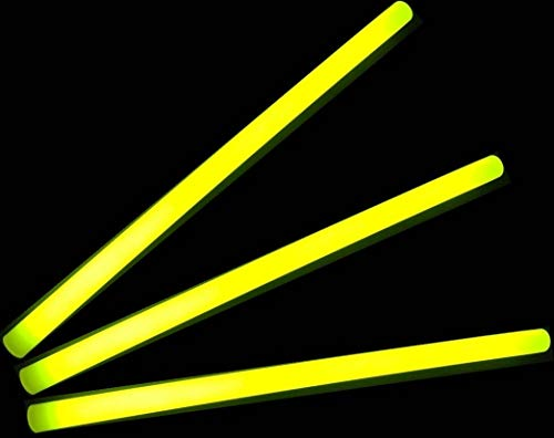 """Glow Sticks Bulk Wholesale, 10 12"""" 15mm Dia. Yellow Industrial Grade Jumbo Light Sticks, Bright Color, Glow 14 Hrs, Safety Glow Stick 3yrs Shelf Life, Ideal for Camping & Emergency, Glow With Us Brand"""