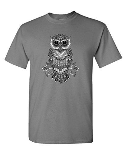 LINE ART OWL Cotton T Shirt