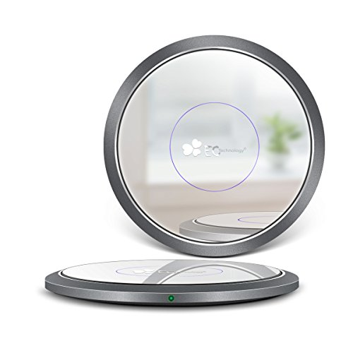 Wireless Charger EC Technology Qi Wireless Charging Pad Mirror Design for iPhone 8 8Plus iPhone X Samsung Galaxy S7, S6, S6 Edge, Note 5/4 Nexus 6/5, HTC Droid DNA, Nokia Lumia 950, Nexus 4 / 5 / 6 / 7 (2013) and All Qi Enabled Devices- Space Grey