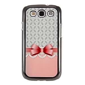 TY-Modelo rosado del Bowknot Espejo Liso nuevo caso duro con la película de alta definición de pantalla 3 piezas para Samsung Galaxy S3 I9300