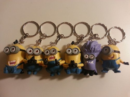 2014 Rare 6PCS Keychain Set Despicable Me 2 Mini Action Figure 3D Minion -