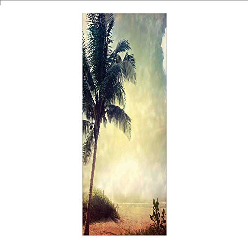 (3D Decorative Film Privacy Window Film No Glue,Hawaiian,Natural Beach Sunset with Palm Silhouettes Shrubs Sea Clouds and Sand Landscape,Teal Brown,for Home&Office)