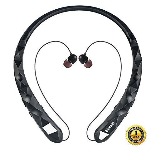 Bluetooth Headphones Bluenin Wireless Headphones Neckband Retractable Earbuds Noise Cancelling Stereo Headset Sport Sweatproof Earphones with Mic (Matte Black)