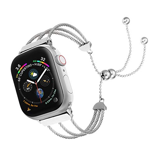 - IMYMAX Adjustable Bling Band Replacement for Apple Watch Band 42mm 44mm Women iWatch Series 4, Series 3, Series 2, Series 1, Fashion Tassel Overall Stainless Steel Strings Wristband Strap,Silver
