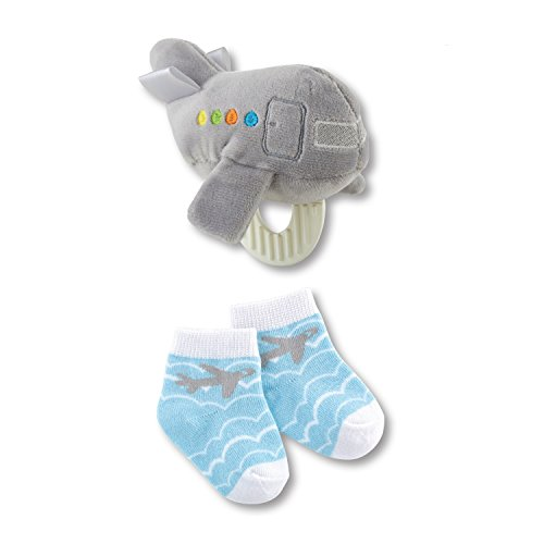 Stephan Baby Transportation Collection Plush Crinkle Rattle Teething Toy and Bootie Socks Gift Set, Gray Airplane, 3-12 Months