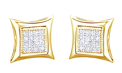14K Solid Yellow Gold Round Cut White Natural Diamond Hip Hop Stud Earrings (0.20 Cttw) by wishrocks