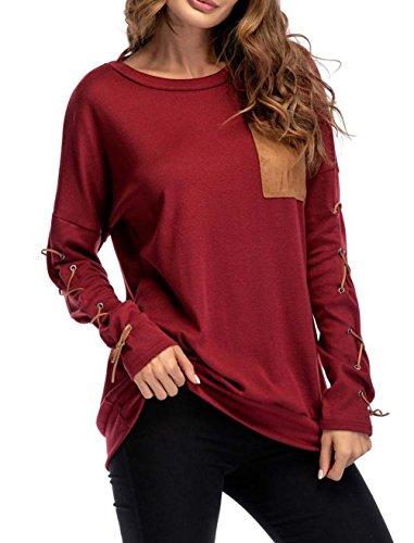 Manches Tops Poche T Longues Rouge Chemises avec Bandage Longue Mi Col t Tunique Shirts Lache Femme Hauts Blouse Fashion Shirts Rond Y8nXx