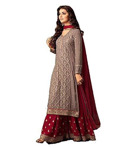 stylishfashion Women's Salwar Kameez Designer Indian Dress Ethnic Party Anarkali Salwar Kameez (Brown, X-Small-36) ()