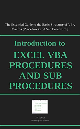 Amazon com: Introduction to Excel VBA Procedures and Sub