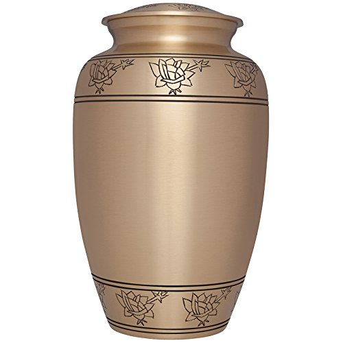 Rosario Gold Finish - Liliane Memorials Gold Funeral Cremation Urn with Engraved Roses Rosario Model in Brass for Human Ashes; Suitable for Cemetery Burial; Fits Remains of Adults up to 200 lbs, Large/200 lb, Bronze