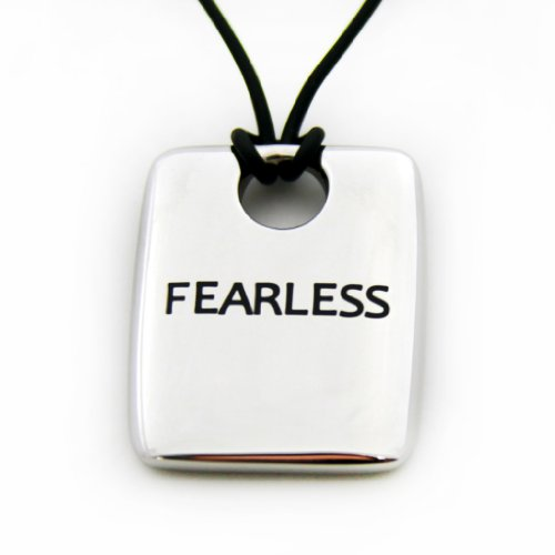 Fearless Dog Tag Pendant With 18 Inch Black Cord Stainless Steel Dog Tag Necklace – Inspirational Jewelry