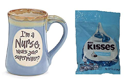 I#039m a Nurse Whats Your Superpower Light Blue 18 Oz Mug and Bag of Hershey Kisses Cookies and Cream 27 oz Gift Boxed Bundle