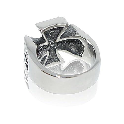 b16dba3dc904 80% OFF Anillo para hombre en forma de cruz de acero inoxidable con plata  blanca