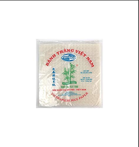 Bamboo Tree Spring Roll Rice Paper Square Wrappers 22cm Tufoco Vietnamese 12oz ()