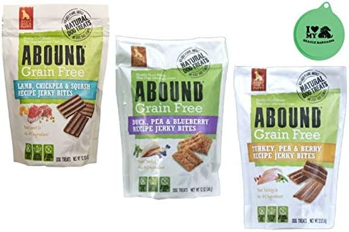 Abound Grain Free Jerky Bites Adult Dog & Puppy Treats - 3 Flavor Bundle (1) Lamb, Chickpea & Squash, (1) Duck, Pea & Blueberry, (1) Turkey, Pea & Berry - 12 Oz Each - Plus Can Lid (4 Items Total)