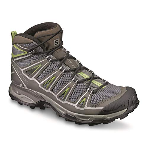 Salomon Men's X Ultra Mid Aero Hiking Boot, Castor Gray/Beluga/Fern, 8 D US L39351200