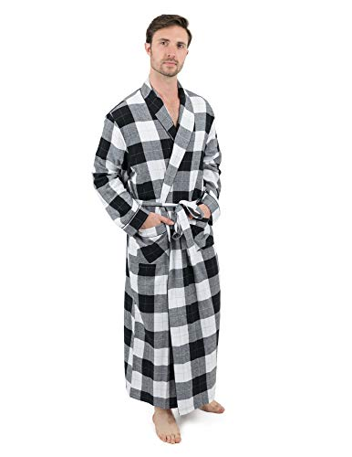 (Leveret Mens Robe Flannel Robe Christmas Robe Black/White Plaid Size Large)