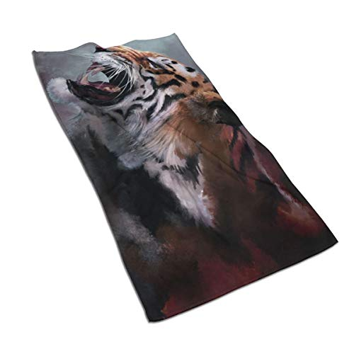 2vf78wew11 Watercolor Tiger Microfiber Cooling Towel,Soft Skin Care,Strong Water Absorption,Suitable for Families,Outdoor and Sports ()