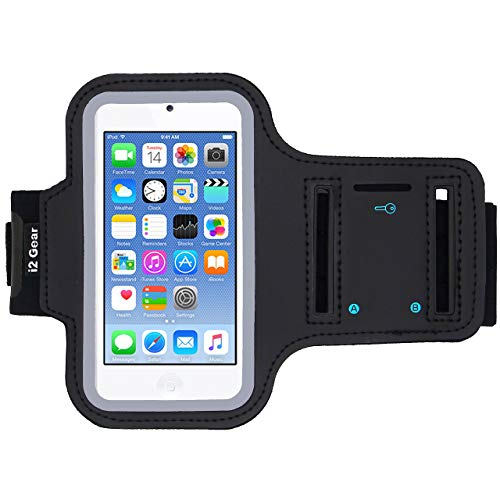 i2 Gear Running Exercise Armband Compatible with iPod Touch 6th and 5th Generation Devices with Adjustable Sport Band, Reflective Border, Touch Screen Protection and Key Holder (Jet Black)