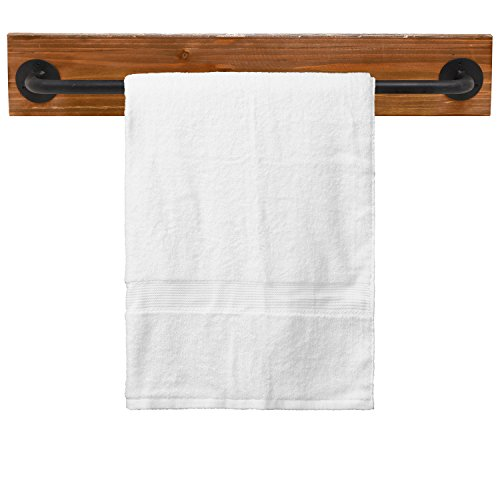 Rustic Wood & Metal Wall Mounted Towel Bar / Hanging Rod Unit For Modular Storage Racks