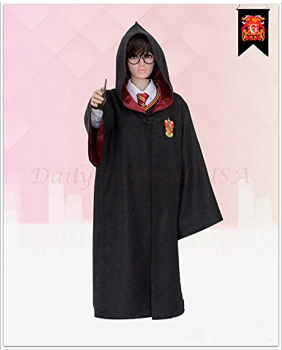 [HP1 Adult Harry Potter Robe ALL 4 HOUSES XX2-XXL Halloween Costume USA (XS, Gryffindor Red)] (Harry Potter Halloween Costumes Hermione)