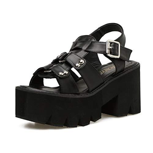 (Women Motorcycle Biker Shoes Open Toe Buckle Gladiator Gothic Sandals Platform Thick Block High Heels Casual Black)