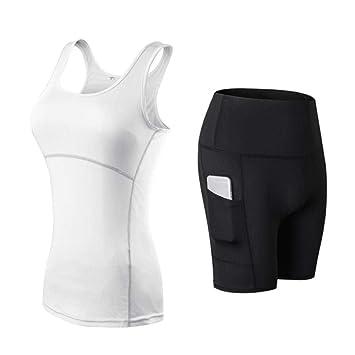 ZEEKYLY Pantalones Cortos de Yoga para Mujer + Camisa Caderas ...