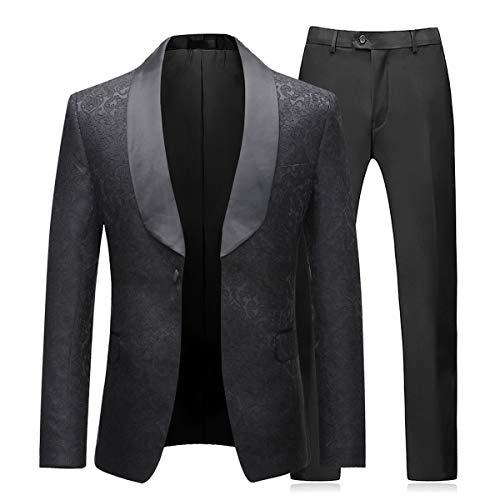 Boyland Men's 2 Piece Tuxedos Suits Blazer Vintage Groomsmen Wedding Suit Complete Outfits (Blazer+Trousers) Black