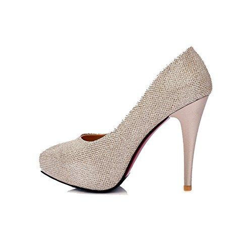 AgooLar Damen Stiletto Rein Ziehen auf Spitz Zehe Pumps Schuhe, Blau, 42