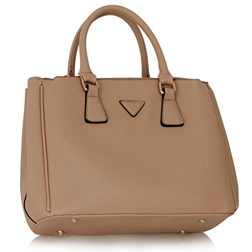 LEESUN LONDON - Bolsa mujer, color gris, talla Large Nude bolso