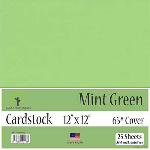 Mint Green Cardstock - 12 x 12 inch - 65Lb Cover - 25 Sheets