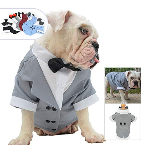 (Lovelonglong Bulldog Costume Dog Suit Formal Tuxedo with Black Bow Tie Wedding Clothes for Pugs/French Bulldog/English Bulldog/American Pit Bull Gray)