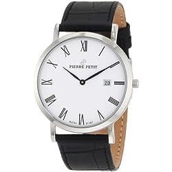 Pierre Petit Men's P-787C Serie Nizza Classic White Dial Black Genuine Leather Date Watch