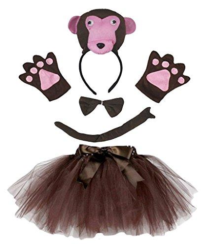 Petitebella 3D Headband Bowtie Tail Gloves Tutu Unisex Children 5pc Girl Costume (3D Monkey) -