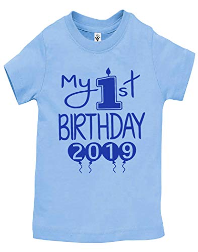 Reaxion Aiden's Corner Handmade 1st Birthday Baby Clothes - Baby Boy My First Birthday Bodysuits & Shirts (Shirt 18 Months, 2019 Royal Lt Blue SH)