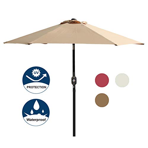 Blissun 7.5 ft Patio Umbrella, Yard Umbrella Push Button Tilt Crank (Tan)