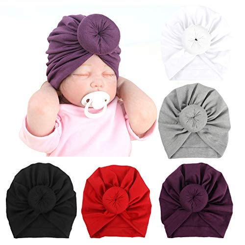BQUBO 5 Pieces Cute Turban Hats for Baby Girls Vintage Soft Bun Knot Infant Toddler Baby Cap (5 Pack Donut C, 0-3 Month) (Knot Is Garden A What)