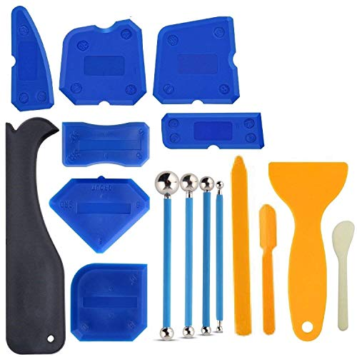 16 PCS Caulking Tool Kit Caulk Caps Sealant Finishing Tool Silicone Caulk Removal Tool For Bathroom Kitchen And The Rest Of The Household