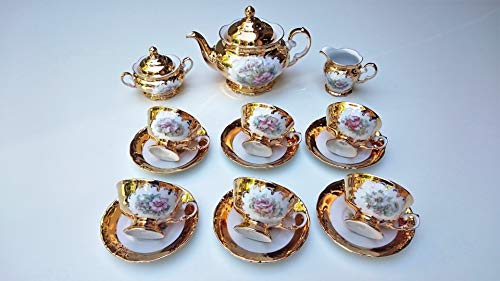 Tea set made in Italy full 24k gold floreale