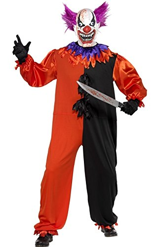 Mens Serial Killer Clown Circus Scary Halloween Fancy Dress Costume Outfit S-XL (Small)]()