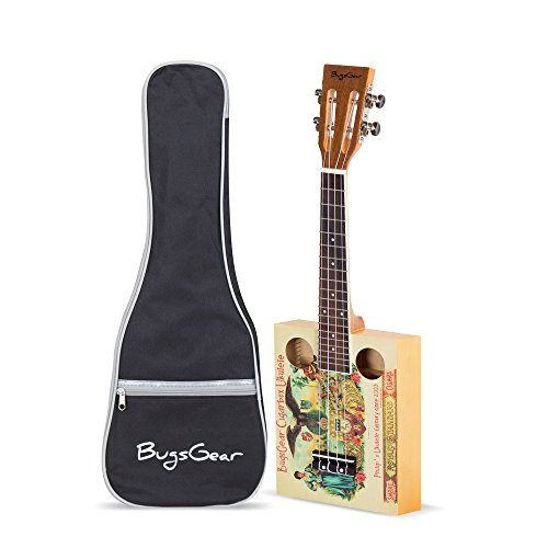 BugsGear 19 Fret Concert Rosewood Spruce Top Print Vintage Cigarbox Ukulele with Case,Royal from Bugs Gear