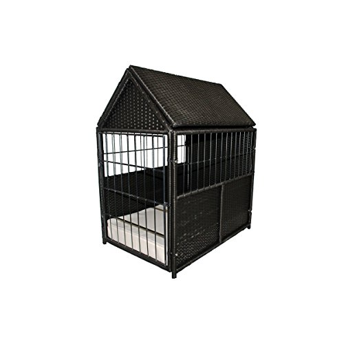 Cheap Iconic Pet Rattan/Wicker Pet Crate for Indoor/Outdoor use – Metal Framed Dog Kennel with Storage Space, Foam Filled Cushion with Water Resistant Cover, Elegant for Dogs/Cats up to 120 lbs