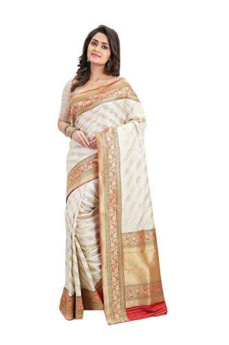 Da Facioun Indian Sarees For Women Wedding Designer Party Wear Traditional Off-White Sari by Da Facioun